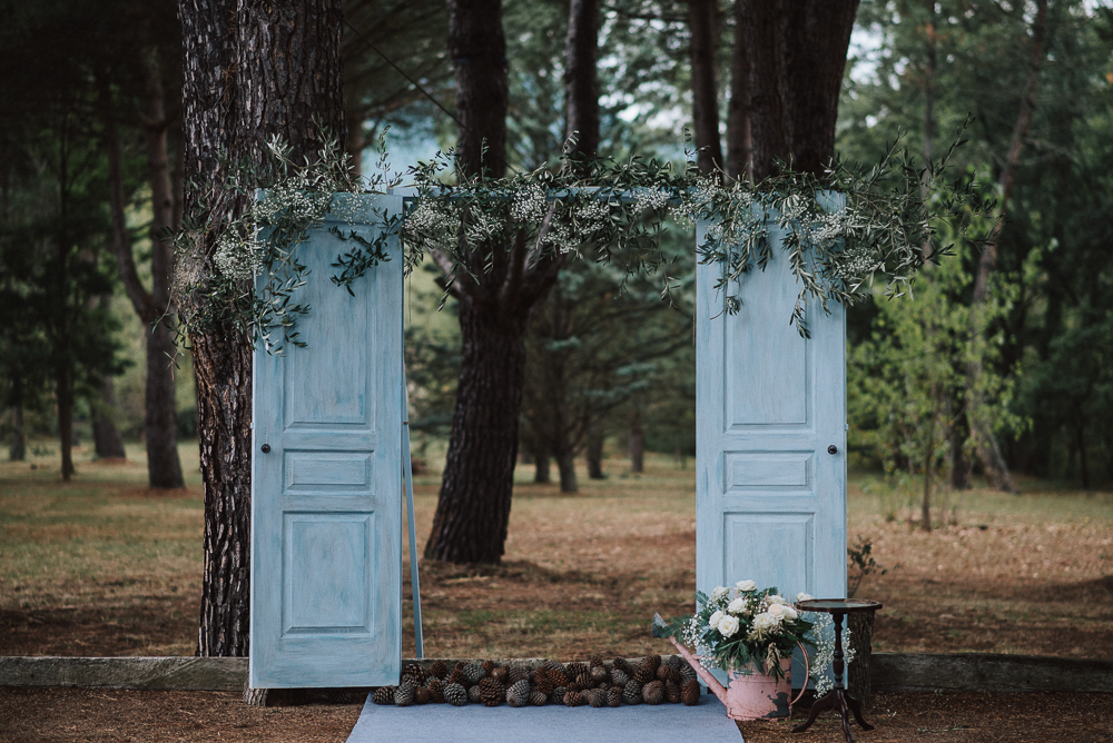 Outdoor Wedding Ceremony In Southern France With Rustic Decor