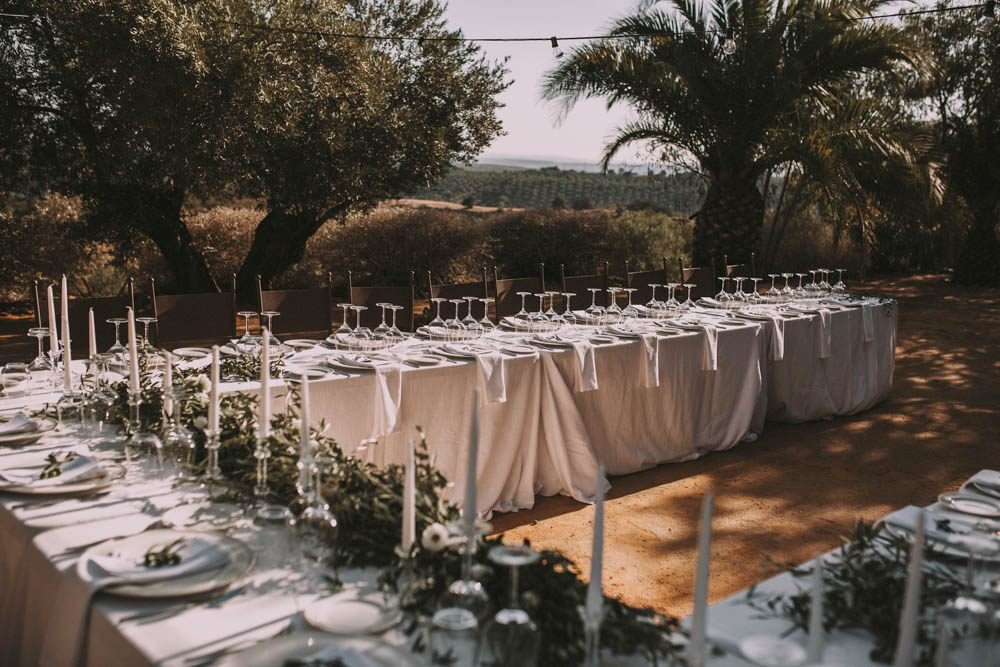Elegant Outdoor Spanish Wedding With Olive Branches White