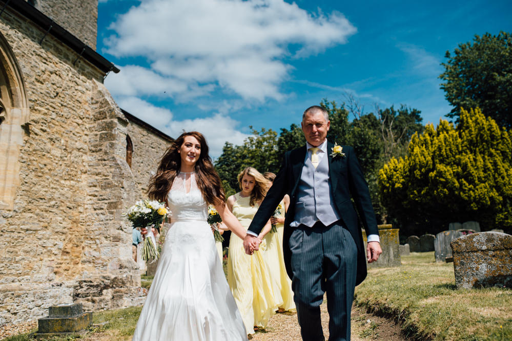 Naomi Neoh Gown for a DIY Rustic Barn Wedding with Yellow Colour Scheme
