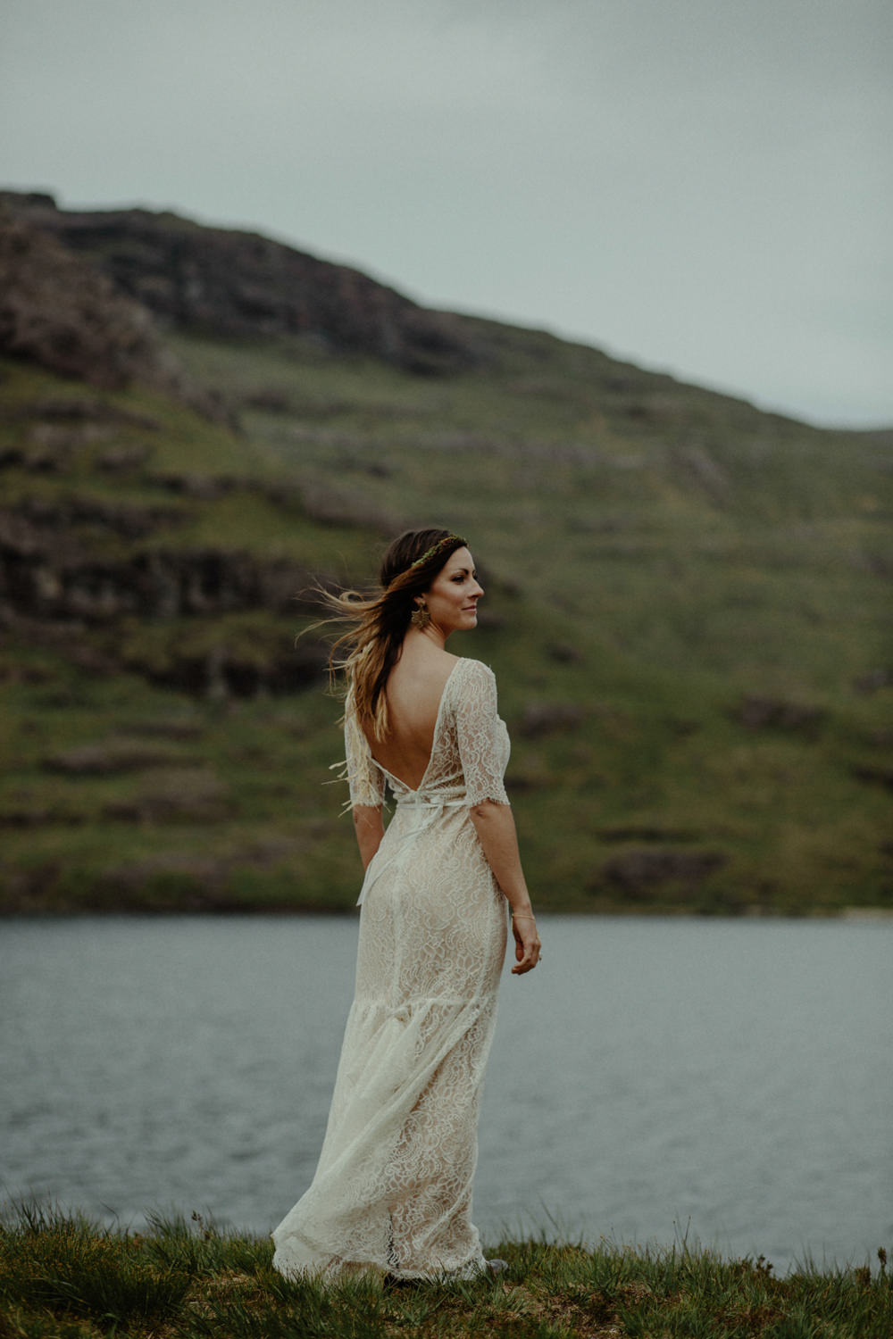Intimate Isle of Skye Elopement Wedding with Lace Sarah Seven Bridal ...