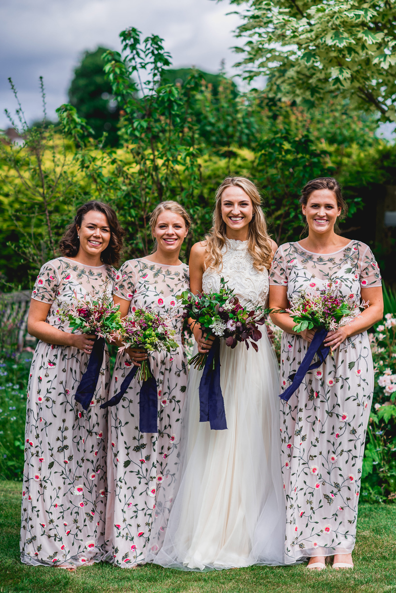 Bright at home tipi wedding with diy decor catherine deane carly bridal party bridesmaids in floral miss selfridge maxi dresses bride in catherine deane carly ombrellifo Gallery