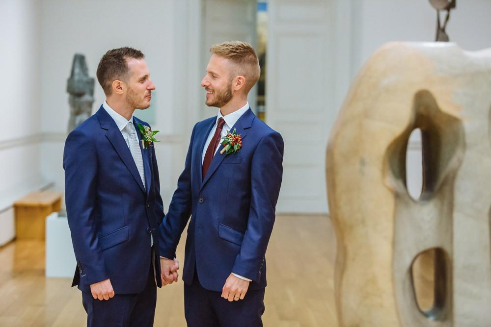 A gay city wedding with bright colour scheme