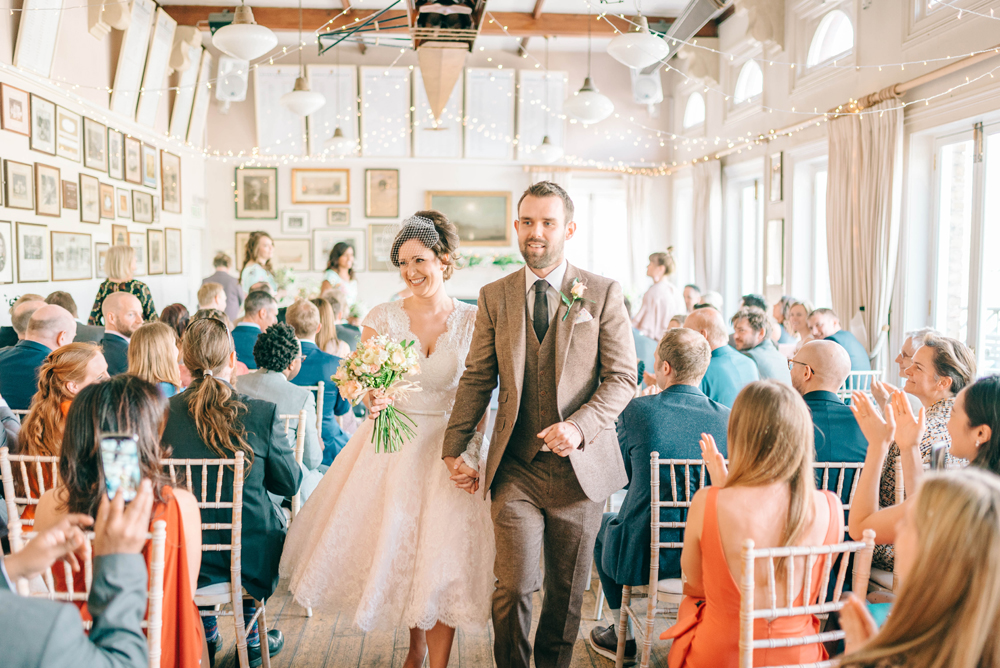 Vegan Wedding Reception With Bride In 50s Style Dress At The London Rowing Club Charity