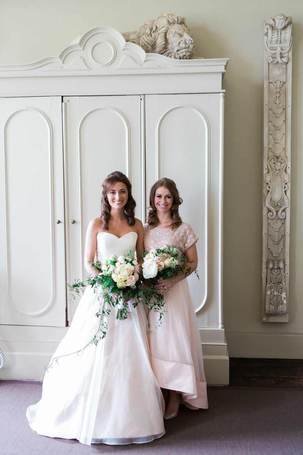 bfd10942855af Bride in Sarah Bussey from Ivory & Co. Gown | Bridesmaid in Pink Coast  Sequin