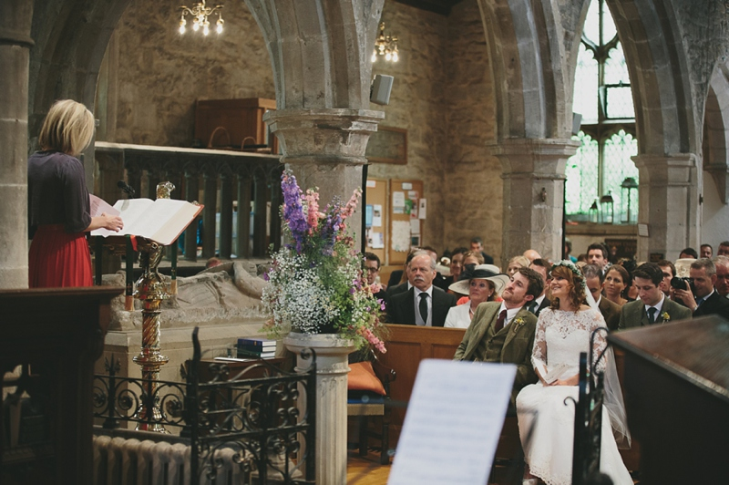 A Rustic Garden Wedding With A Ronald Joyce Lace Dress, A Gypsophila Floral Crown And A Hand-picked Natural Bouquet With A Groom In Tweed Photographed By McKinley-Rodgers.