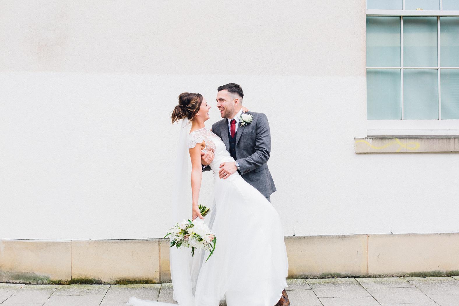 Halfpenny london wedding dress for an industrial wedding in sheffield bride groom ombrellifo Choice Image