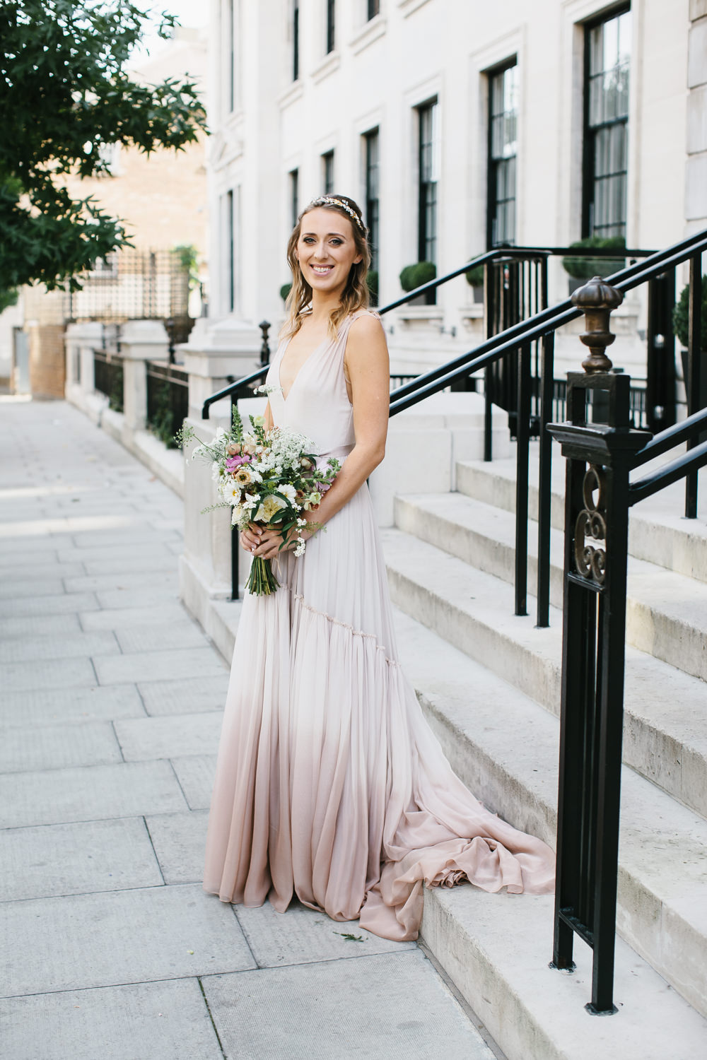 Stylish City Wedding at London Fields Brewery with Blush Ombre Dress