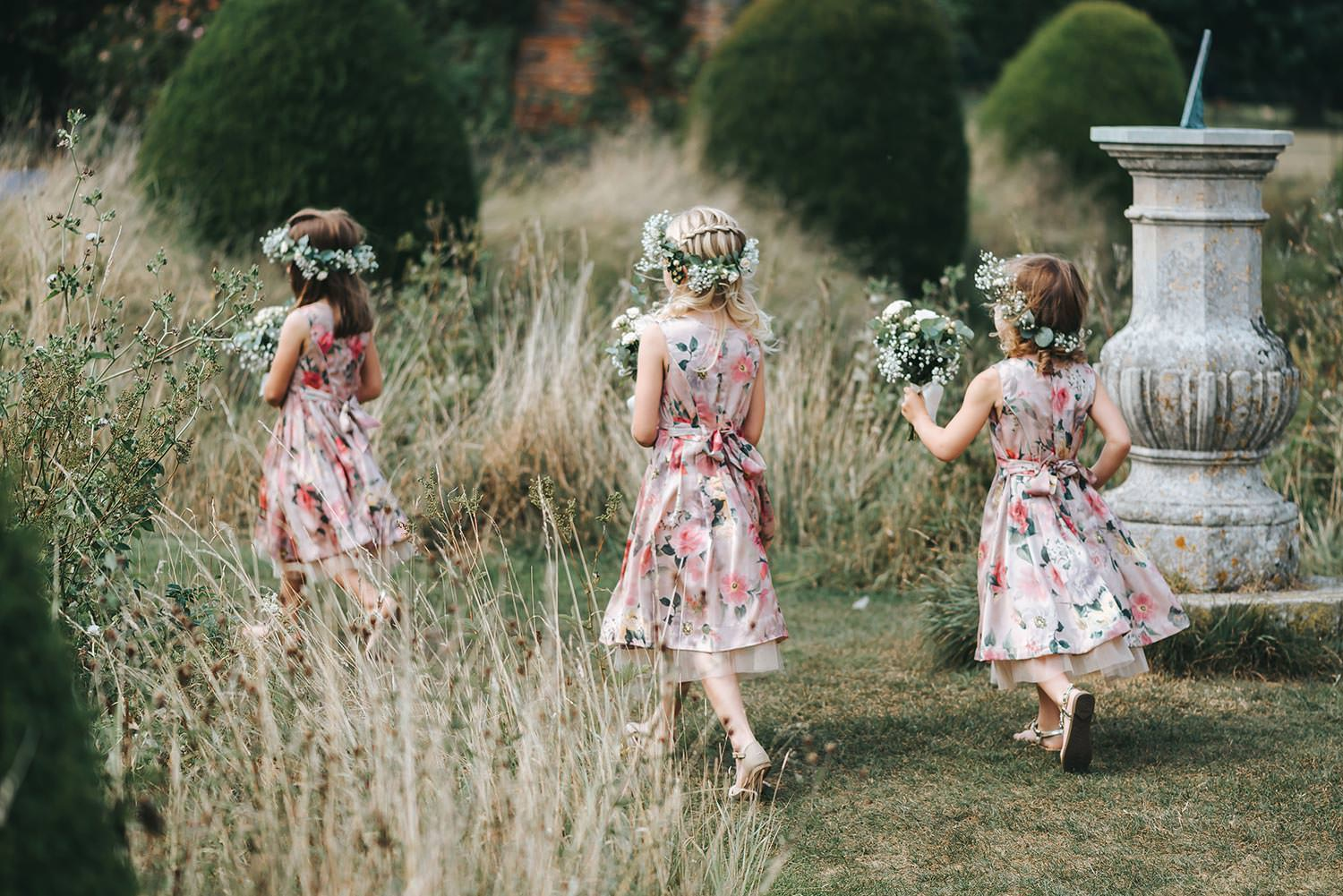 cc69939ac4 Flower Girls in Pink Floral Monsoon Dresses   Flower Crowns