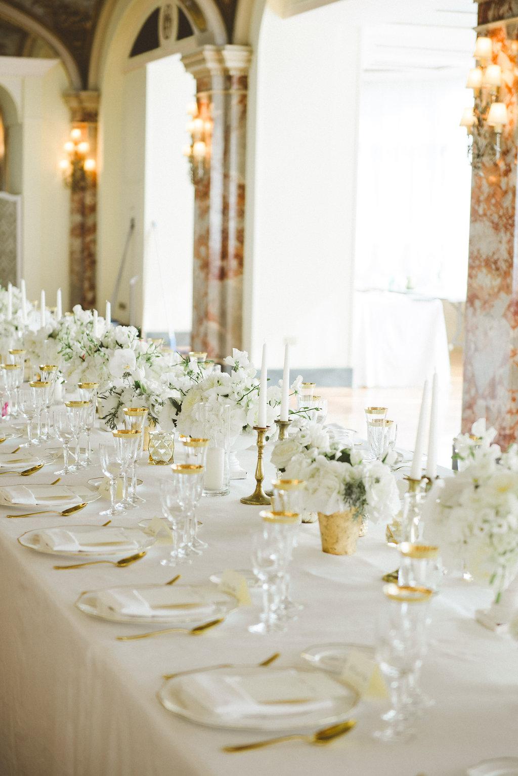 Elegant White & Gold Destination Wedding with Reem Acra Bridal Gown