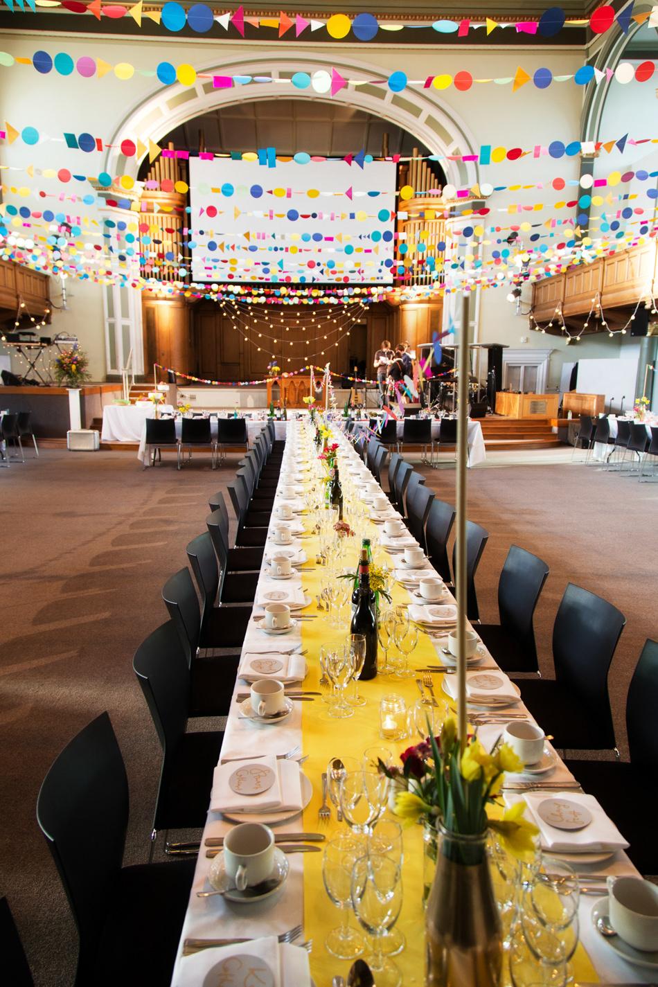 Central hall edinburgh wedding venue for a colourful modern wedding image by a junglespirit Choice Image