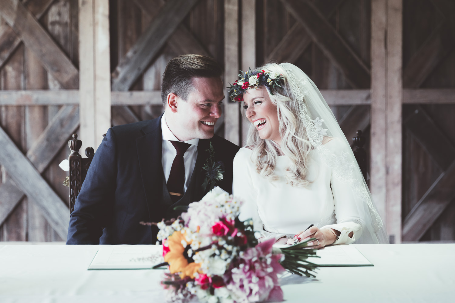 Deswell Court Rustic Barn Wedding with Bright Flowers & Gold BM Gowns