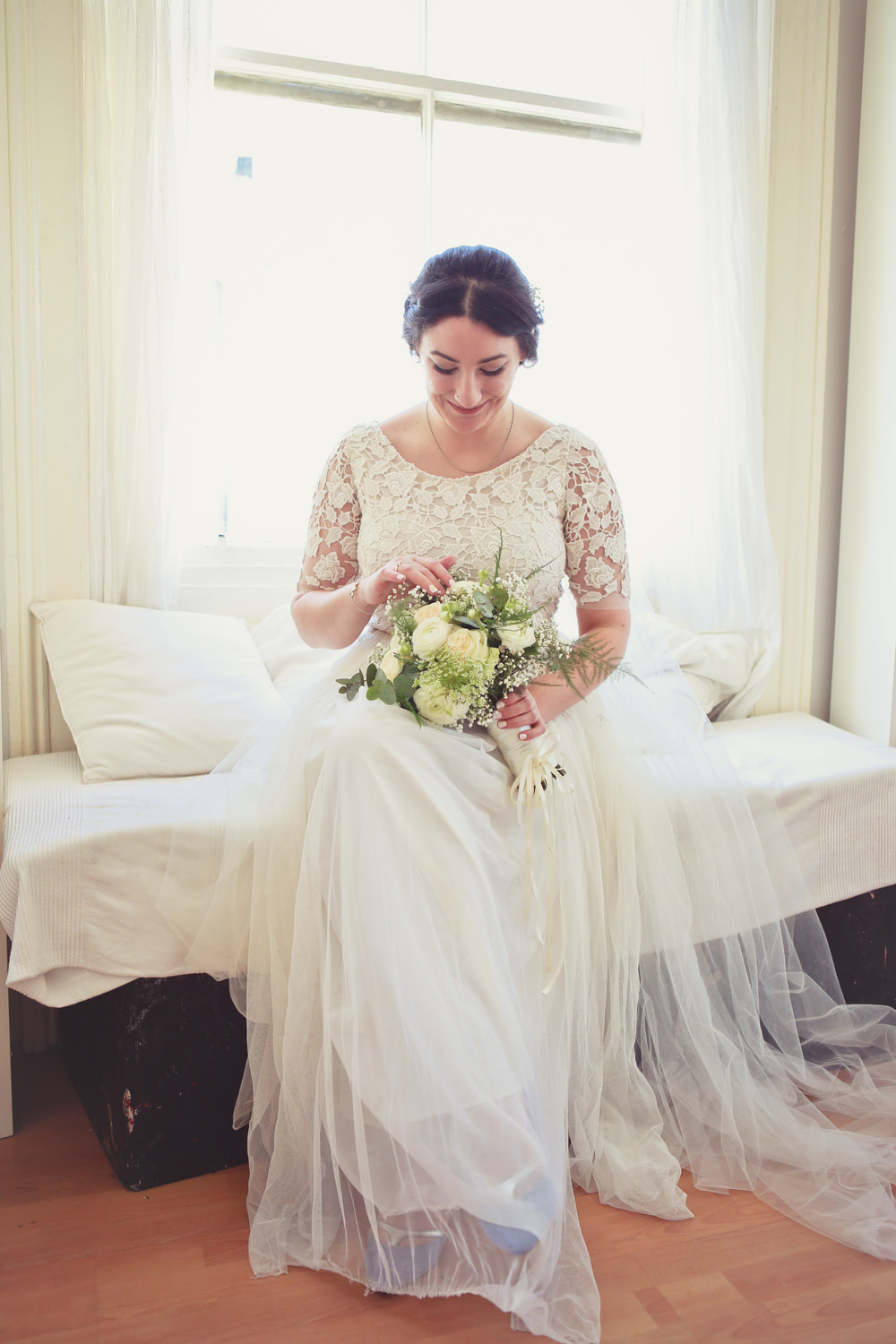 Bespoke Lace Tulle Wedding Dress With Blue Zara Shoes For An