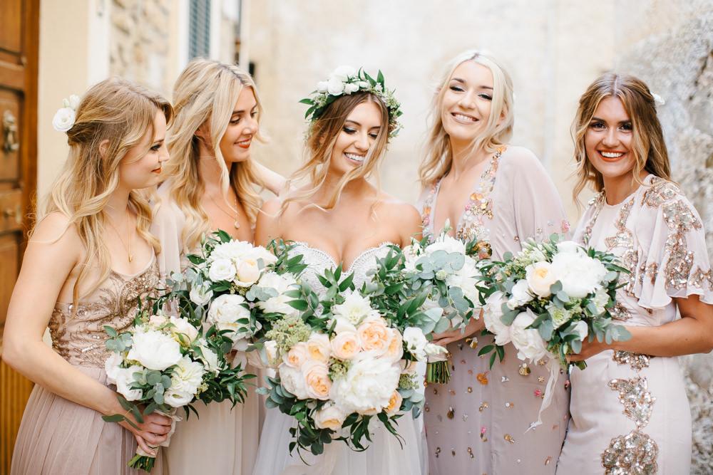 Elegant Peach Gold Italian Destination Wedding With Watters Bridal Gown,Plus Size Designer Wedding Dress