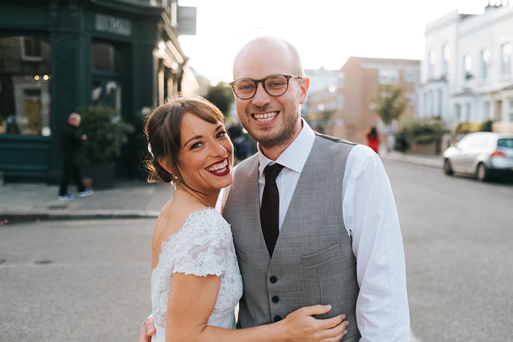 Laid Back London Pub Wedding With Cymbeline Angel Gown