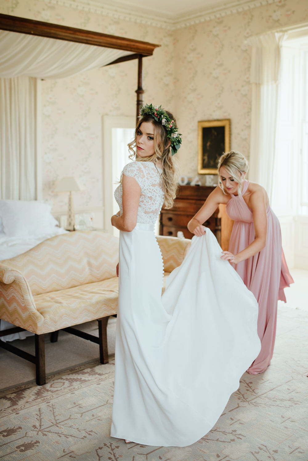 Blush gold autumn wedding at drenagh estate in ni with suzanne getting ready bride in bespoke suzanne neville scarlett bridal gown bridesmaids in pink twobirds ombrellifo Gallery