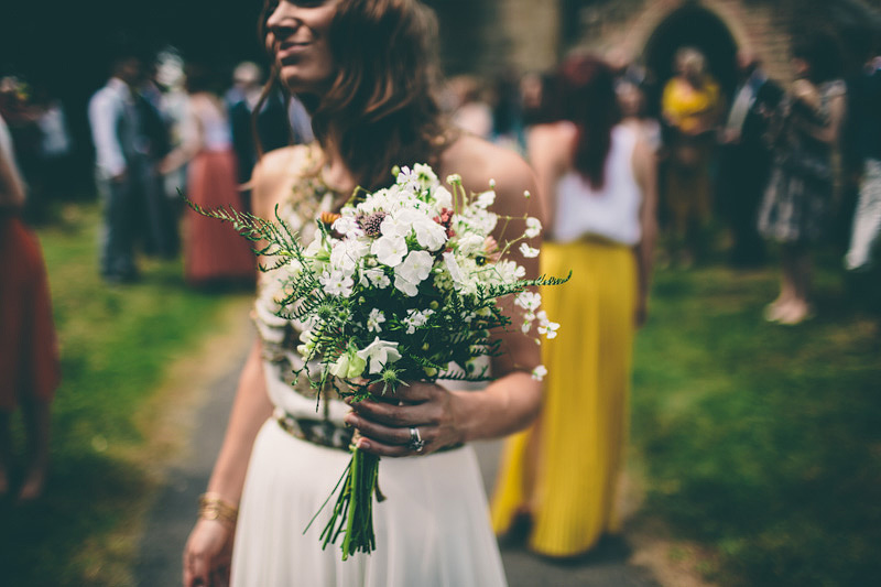A Maid Marian Festival Inspired Wedding At Glebe Farm With An Amanda Wakeley Cleopatra Dress, Mismatched Bridesmaids And A Vintage Rosie Weisencrantz Headpiece.