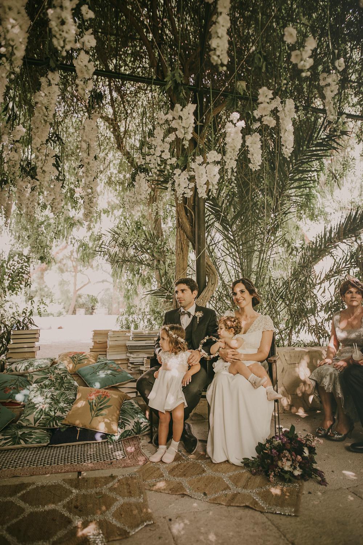 outdoor wedding in alicante with bride in laure de sagazan