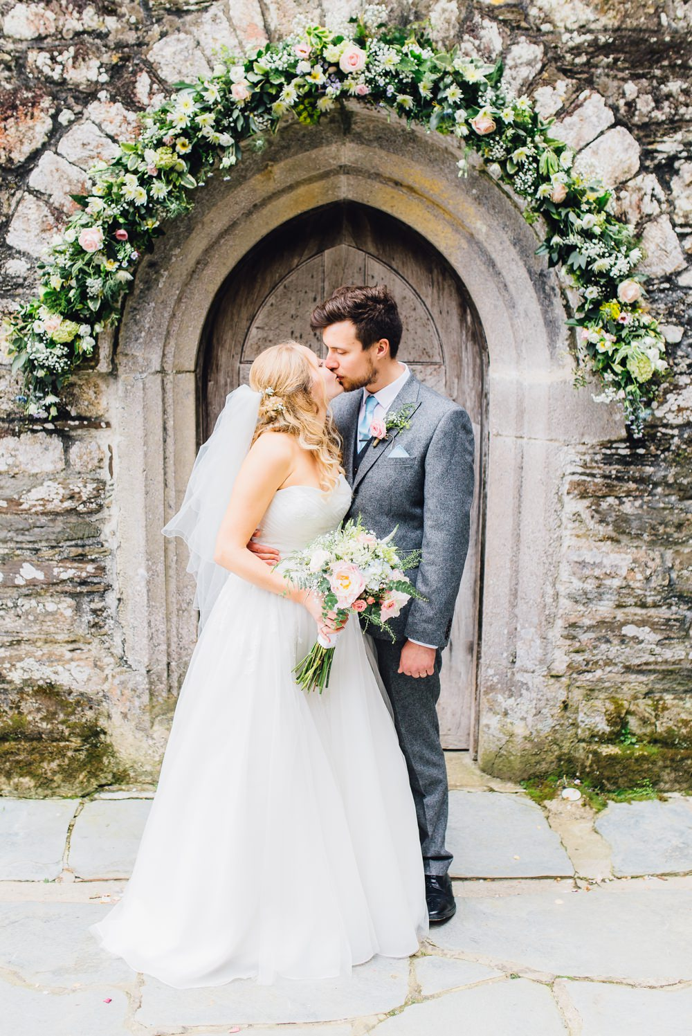 Pastel Wedding in Cornwall with Benjamin Roberts Bridal Gown