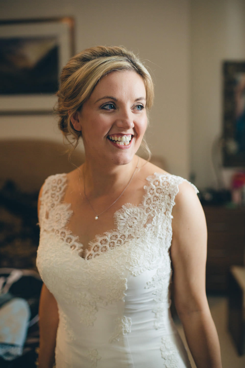 Bride wears a lace wedding dress to a rustic wedding in wales in a image by a ombrellifo Choice Image