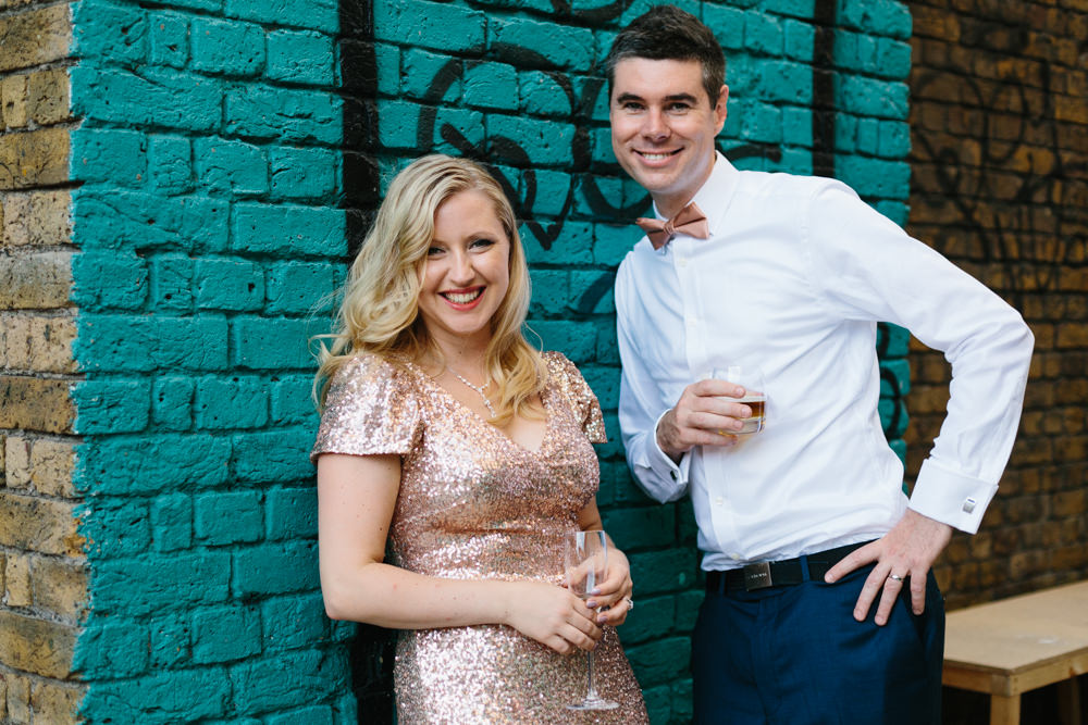 Gold Sequin Gibson Bespoke Gown for a City Wedding at Hoxton Arches