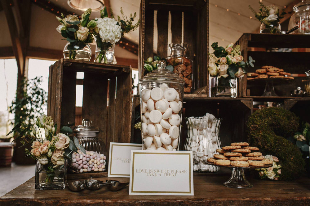 Rustic romance wedding at cripps barn cotswolds with christos wooden crate sweet table wedding decor cripps barn wedding andy gaines photography junglespirit Image collections