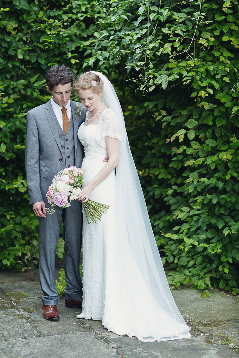 A Beautiful Vintage English Countryside Wedding At Narborough Hall Gardens In Norfolk With An Anoushka G Wedding Dress And An Oversized Pink Peony And Rose Bouquet