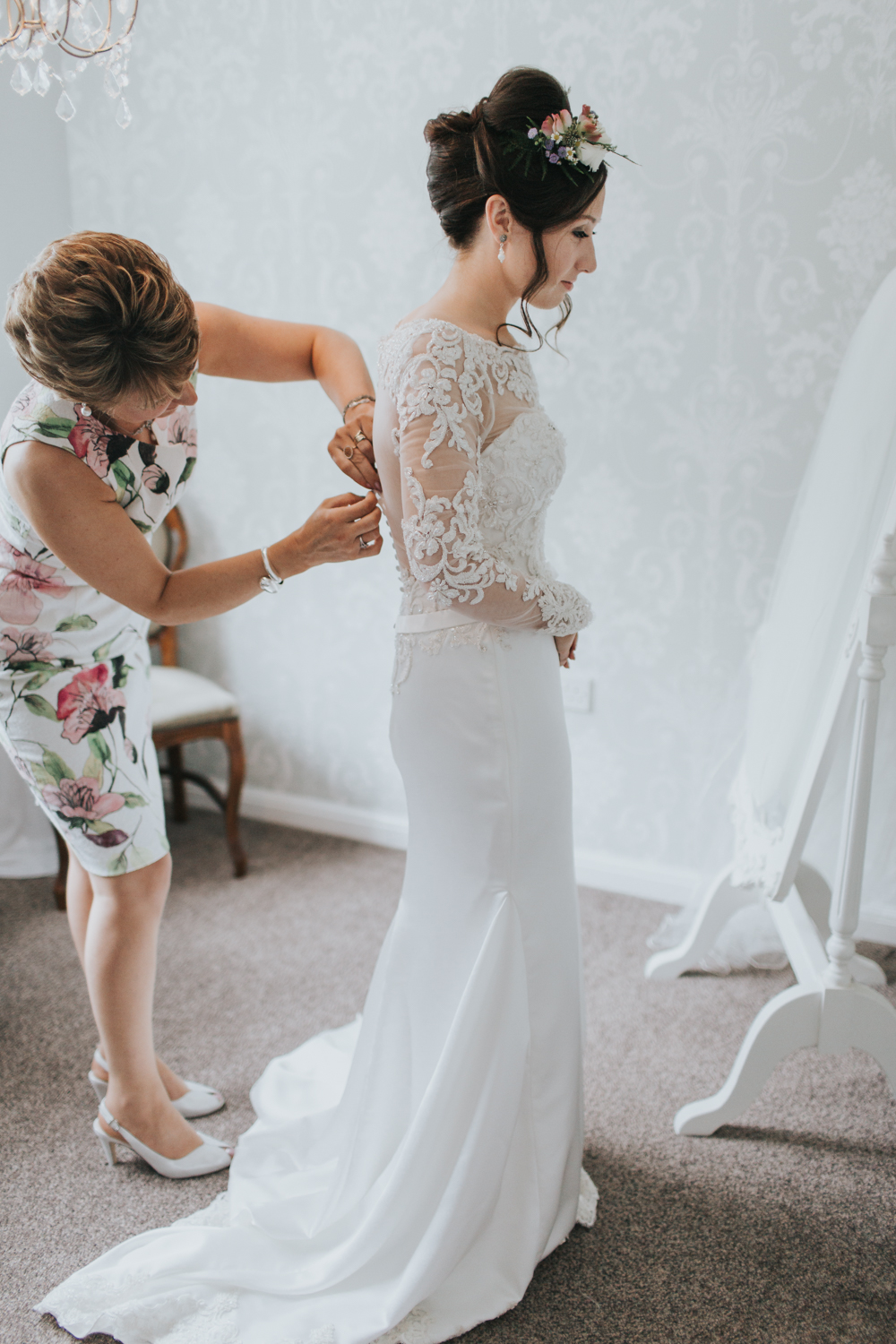 Bride In Lace Dress With Long Sleeves