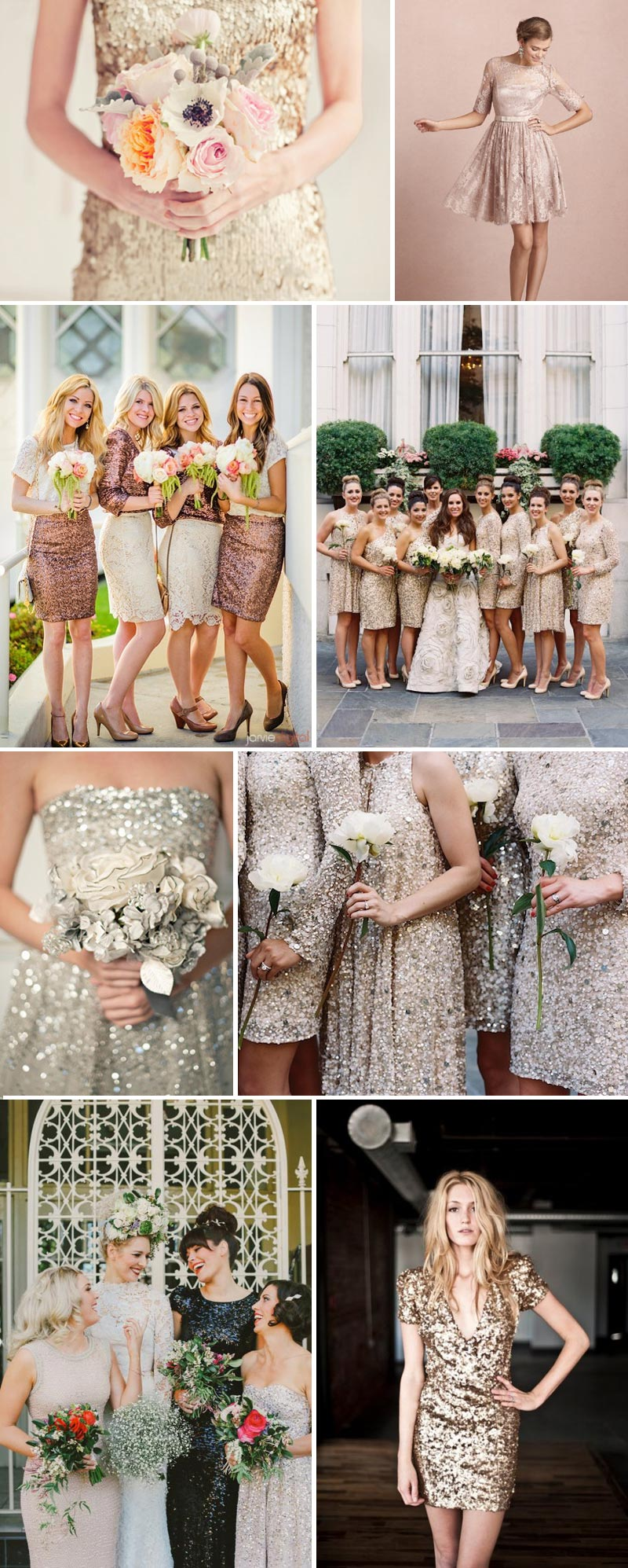Metallic gold silver sequinned Bridesmaid Dresses
