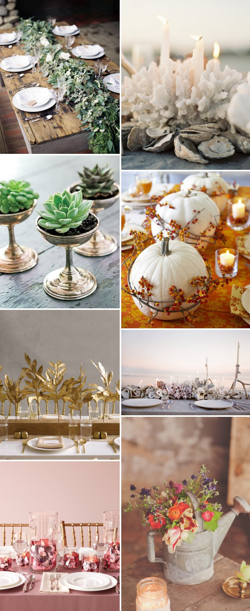 Unusual Wedding Centrepiece Table Centerpiece Pumpkins Succulents Coral Coastal