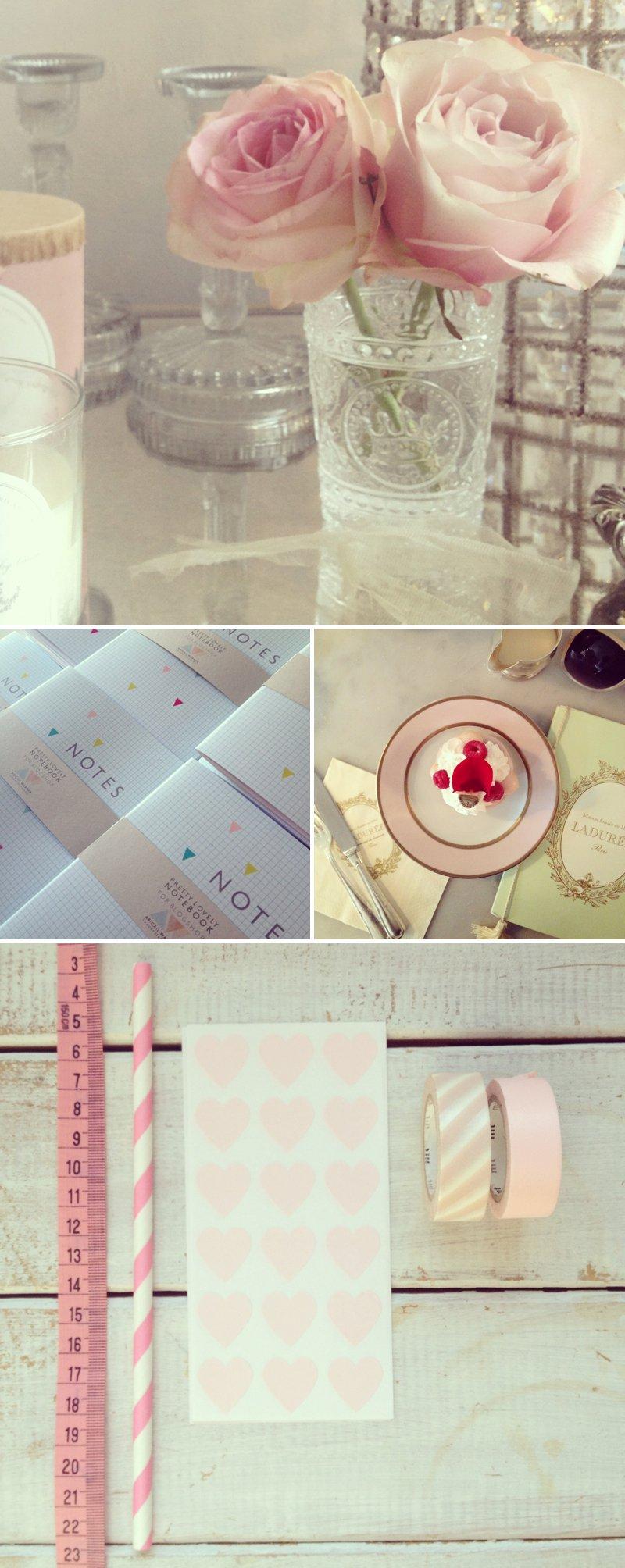 Cut Glass Crystal Pink Ranunculua stripy washi tape