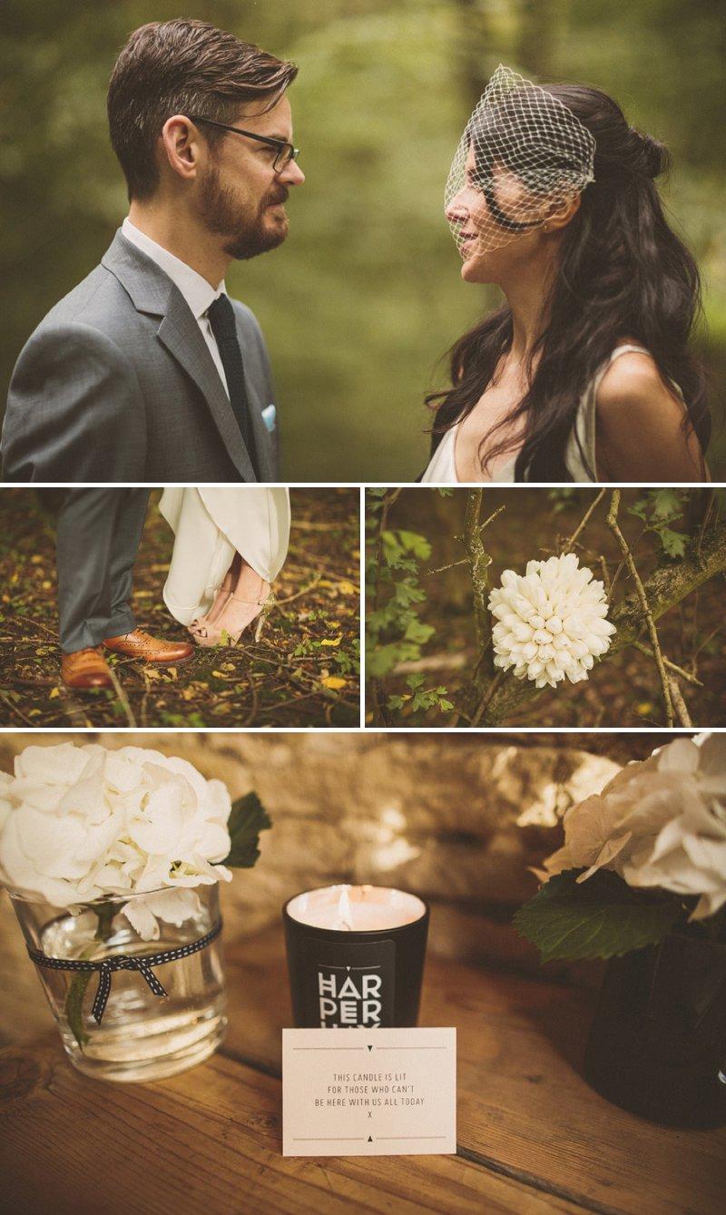 White Tulip Bridal Bouquet Miu Miu Nude Wedding Shoes