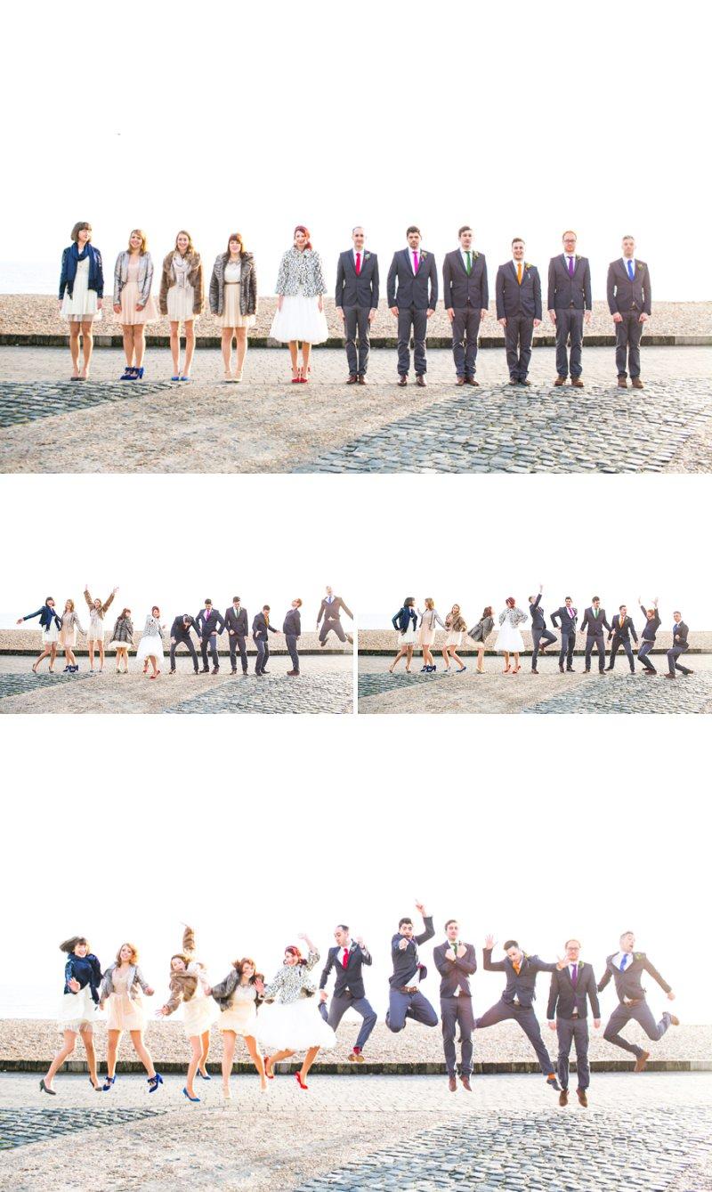 Quirky Modern Wedding Group Shots Portraits Beach navyblur Photography