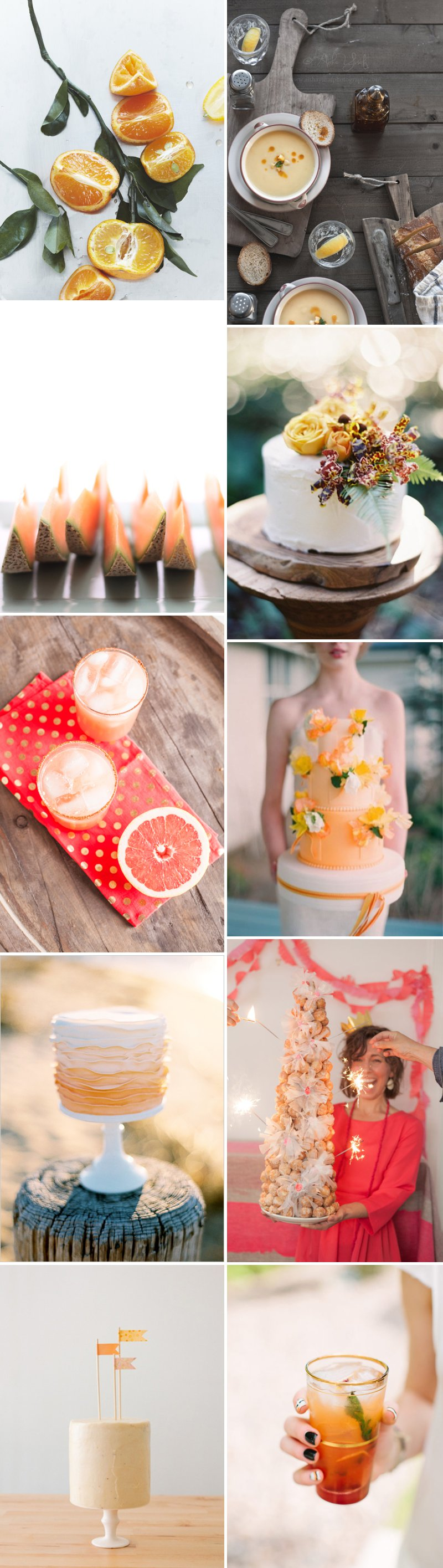 Orange Tangerine Blood Food Wedding Cake Cocktails