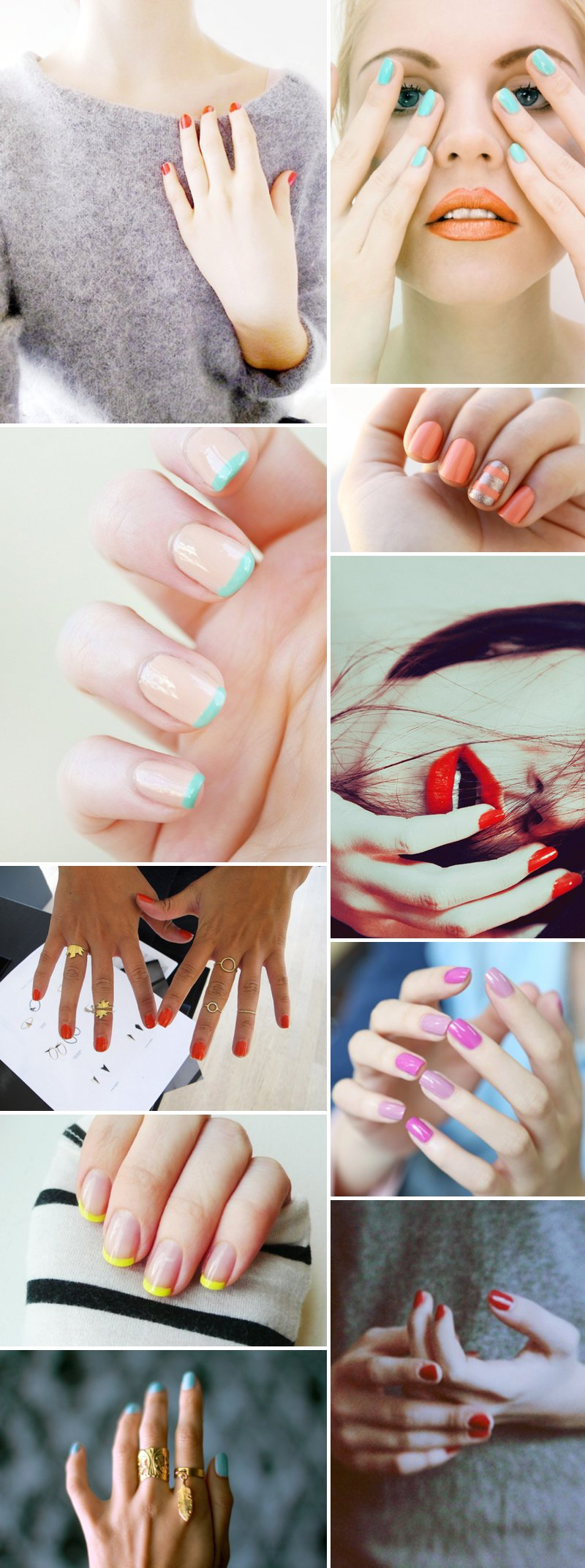 Colour Pop Bright Nails Red Turquoise Wedding Manicure