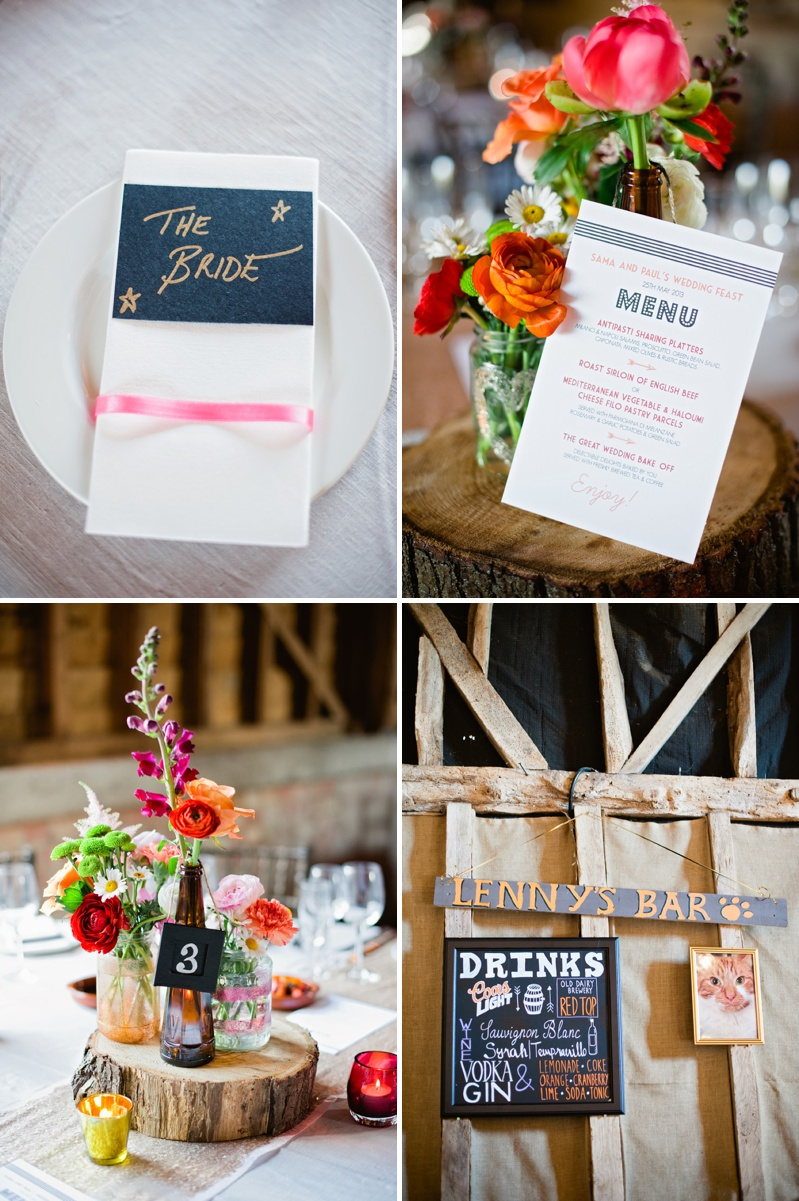 Kate Ruth Romey Wedding Stationery Rustic Menu Placename Rustic Centrepiece Log Coral Pink Peach