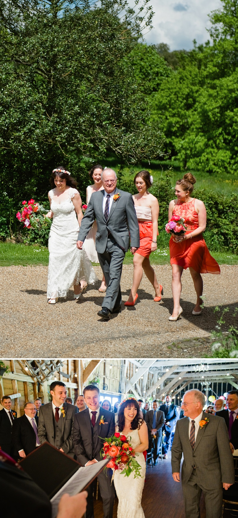 Mismatched Coral Maids Bridesmaid Dresses