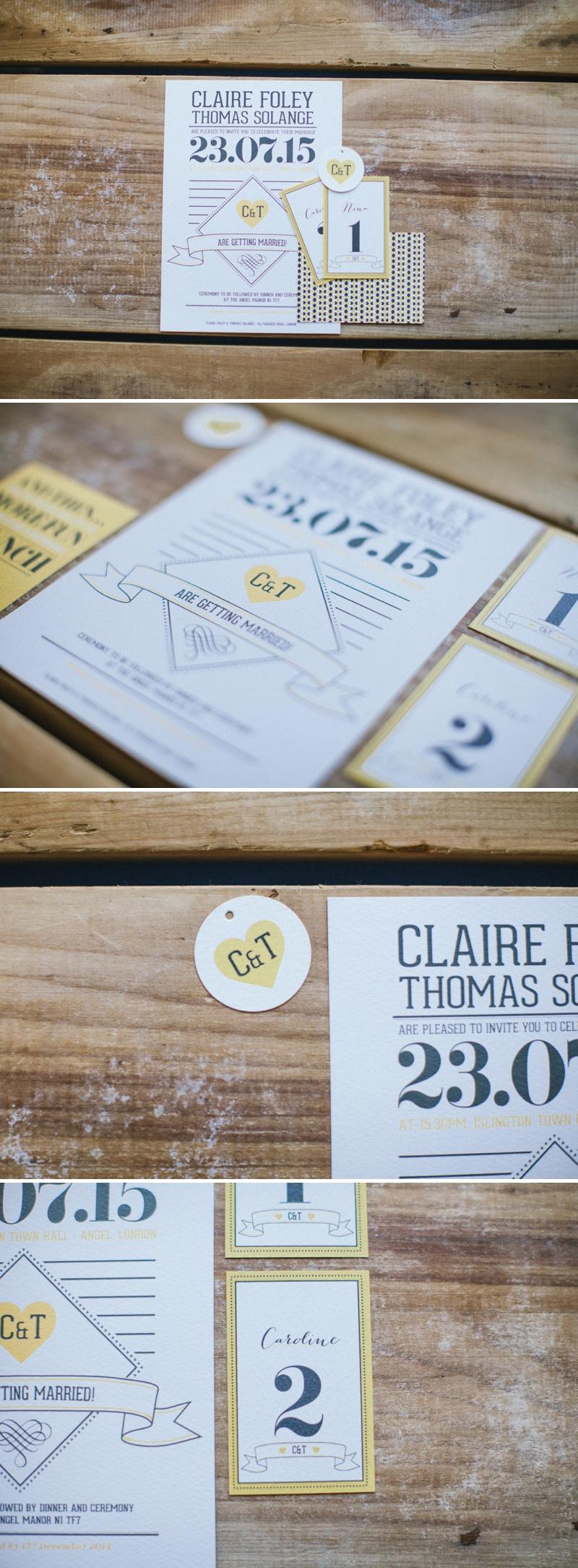 Pepper & Joy Yellow and Grey Wedding Invitations Stationery