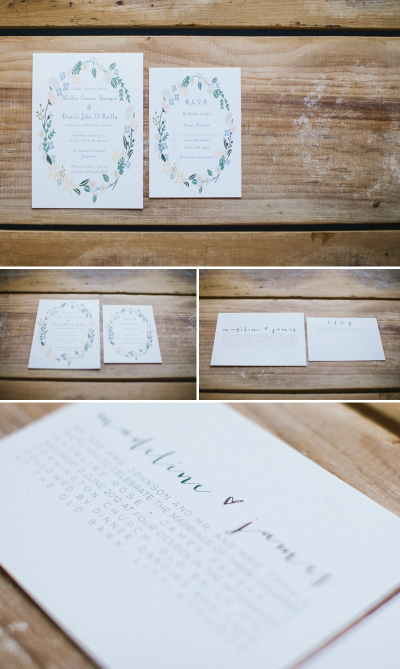 Amelia Lane Paper Floral Inspired Wedding Invitations Stationery Wreath Hearts Calligraphy