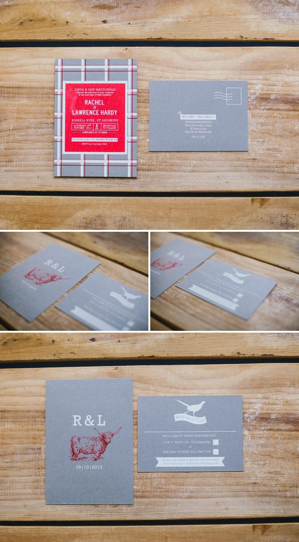 Pirrip Press Letterpressed Wedding Invitations Scottish Inspired Tartan Cattle Red and Grey
