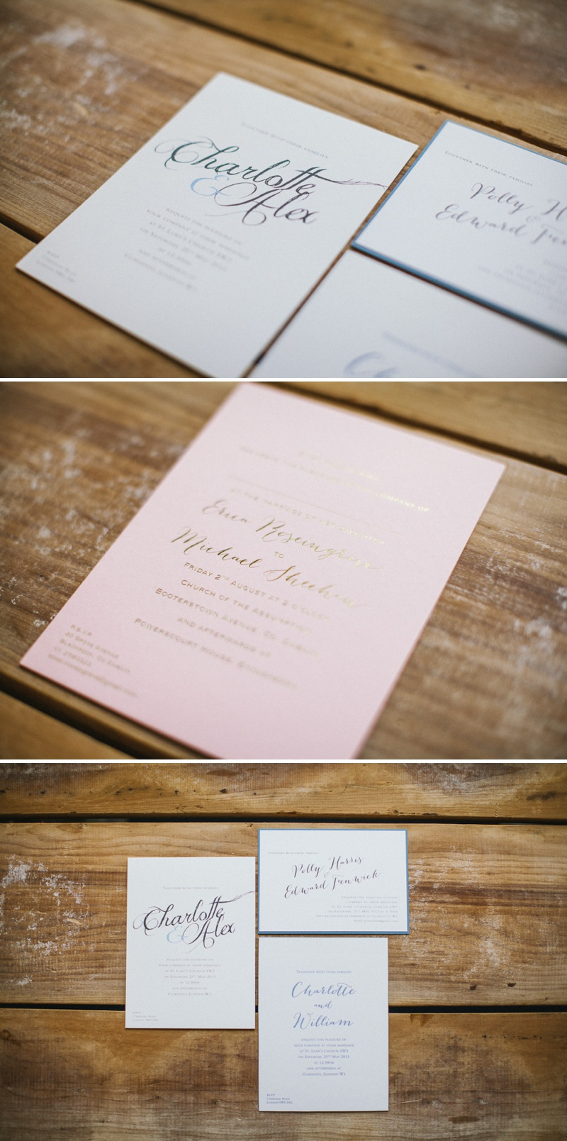 CLD Stationery Gold Foil Printed Raised Print Calligraphy Charlotte Design