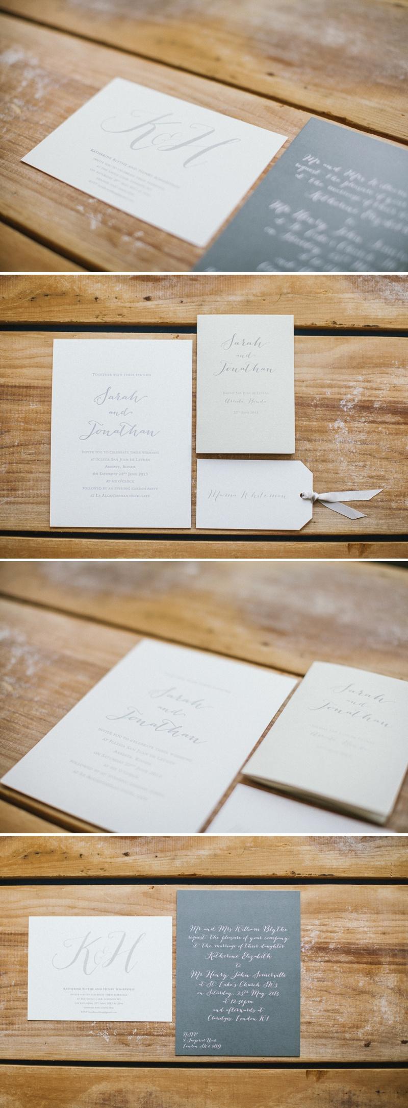 CLD Stationery Letterpressed Grey and Cream Colour Scheme Wedding Invitation