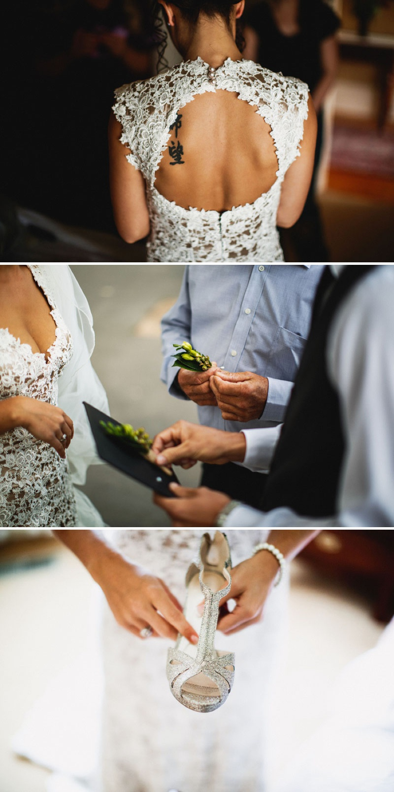 Intricate Lace Back Wedding Dress with Sparkly T-bar Shoes