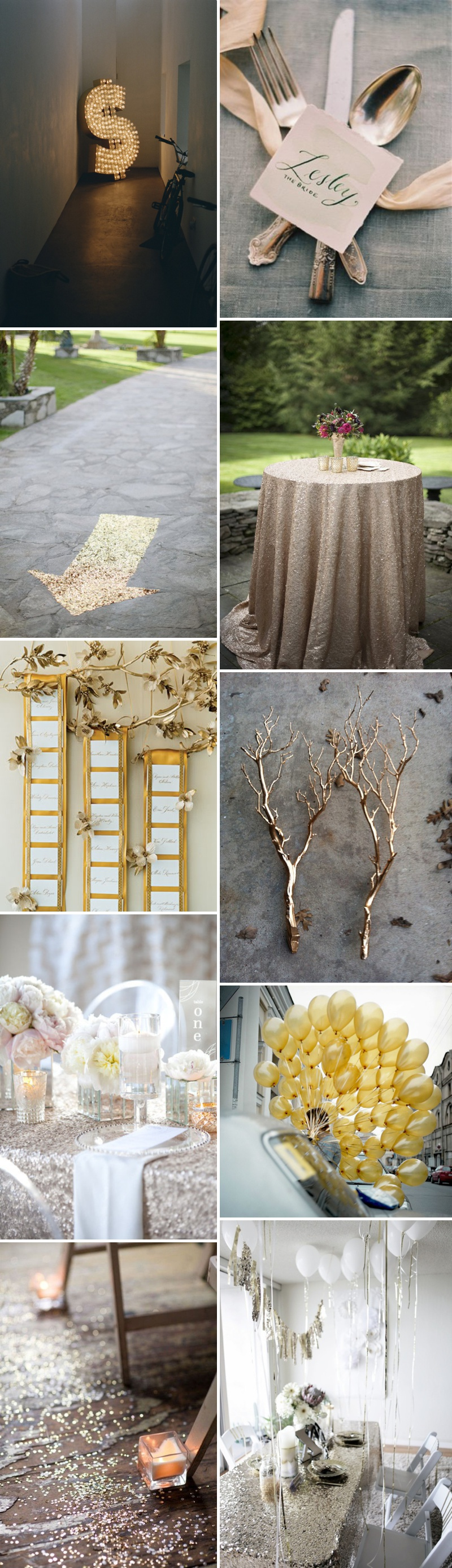 Golden Metallic Glitter Wedding Decor Theme