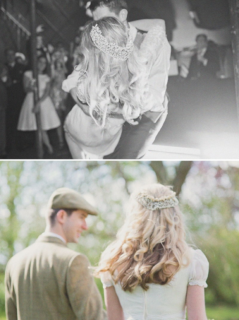 A Countryside Fair Themed Wedding at The Trout Inn Oxfordshire, Images by Cotton Candy Photography. Bride in Vintage Gown from Charlie Brear, Groom In Tweed suit and flat cap_0013
