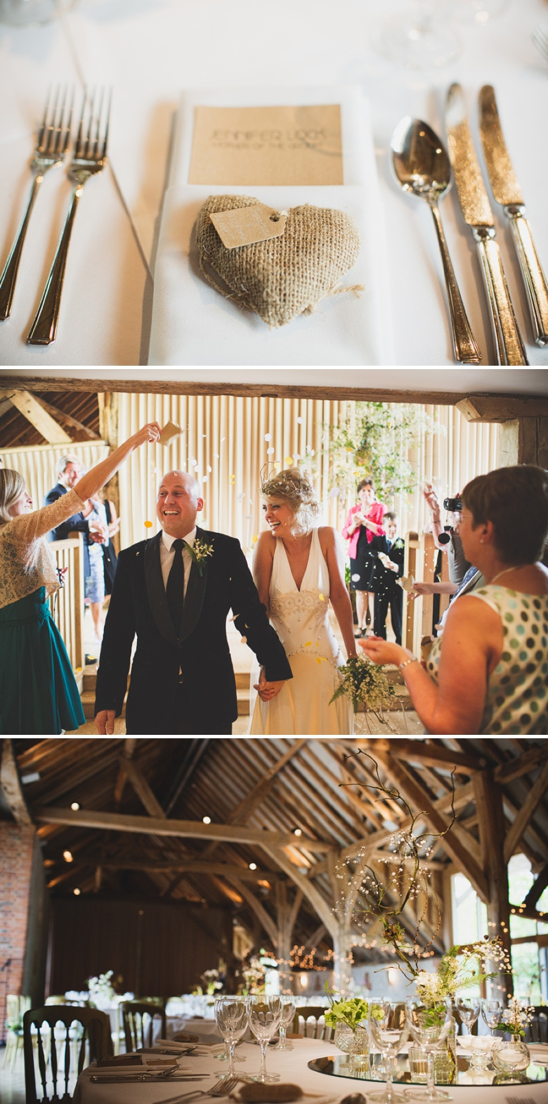 Rustic barn wedding styling with fairy lights