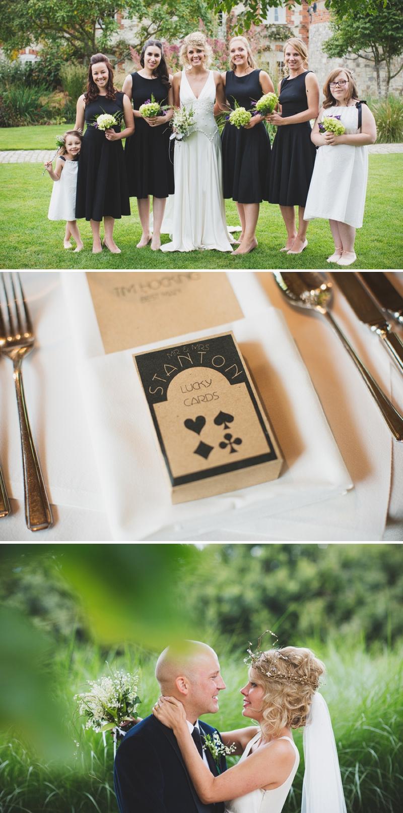 Pretty bespoke flower girl white dresses and black bridesmaid dresses from ASOS