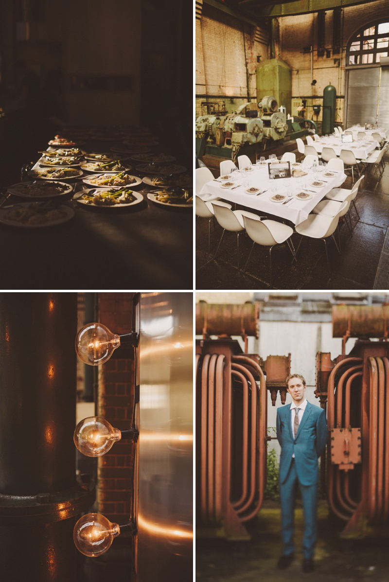 A hip city wedding held at an power station art gallery in East London with a Cymbeline 1930s inspired dress and a white rose bouquet with photography by Ed Peers._0011