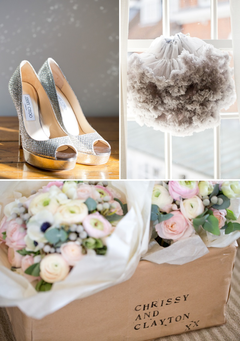 A romantic wedding at Stoke Place with a Maggie Sottero dress and sparkly Jimmy Choo shoes with cherry blossom and rose bouquets._0002