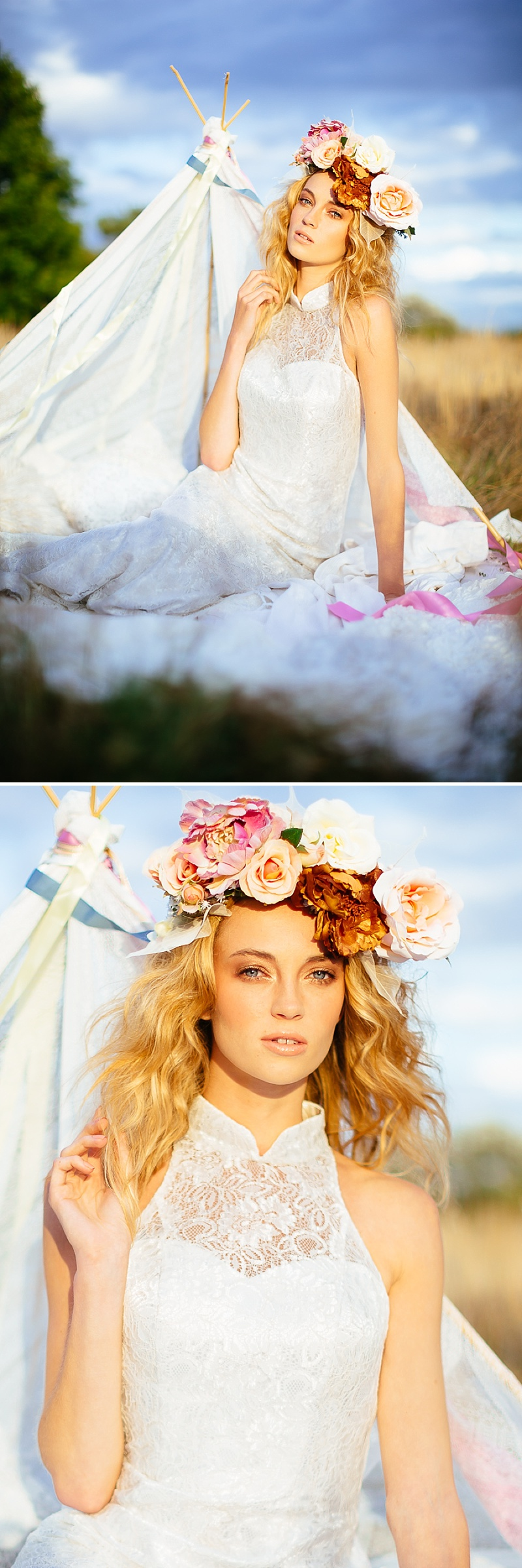 A Boho Earth-Child Themed Bridal Inspiration Shoot, Gowns by Diane Harbridge, Images from Phil Drinkwater_0004