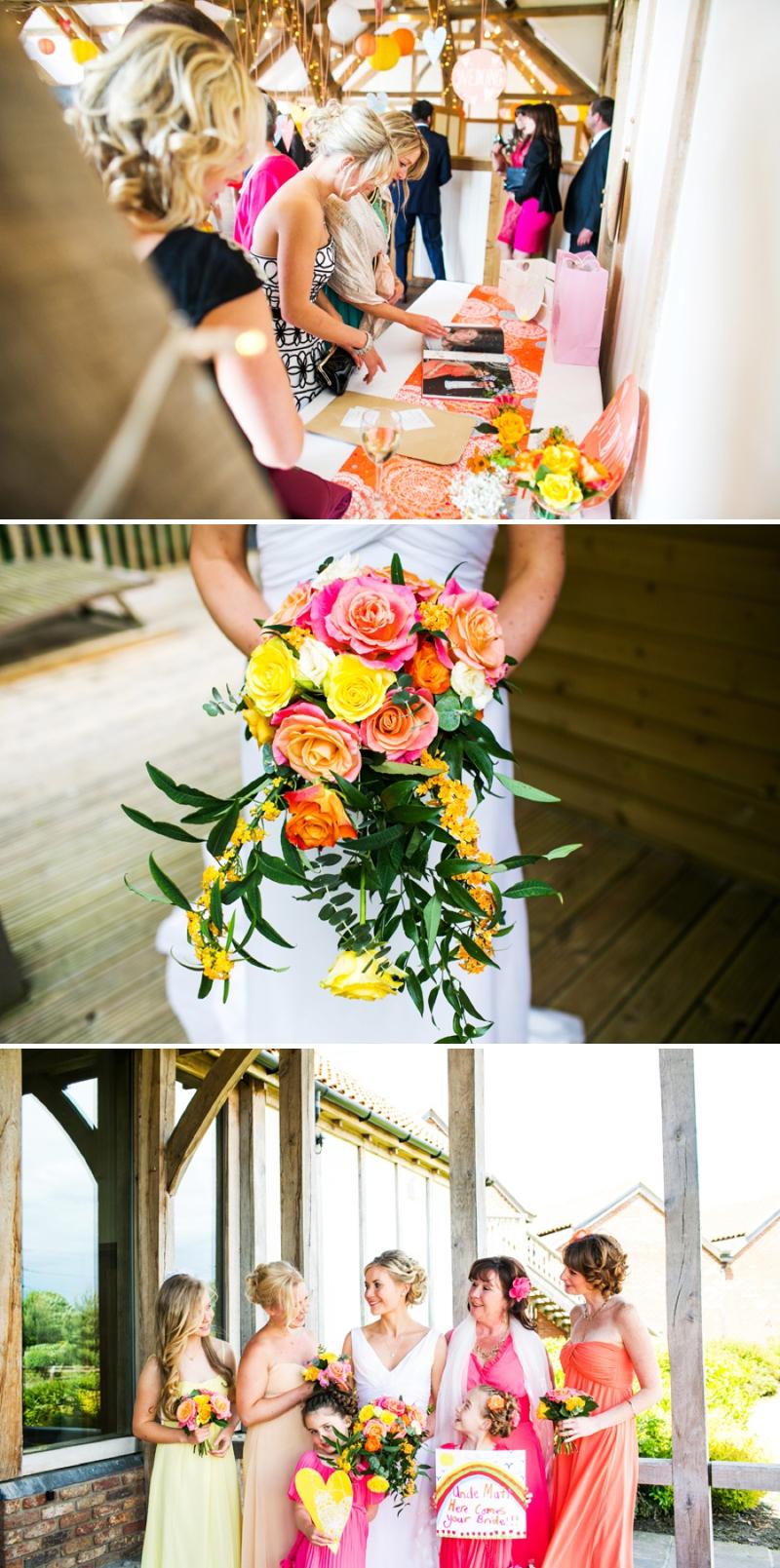 A modern bright colourful wedding at Sanburn Hall York with a bride designed dress_0190